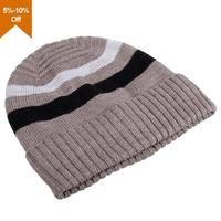Colorful knitted beanie hats with ear flaps