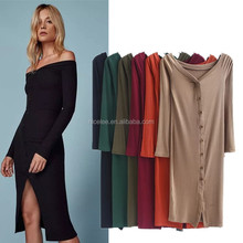 NS1364 Vintage OFF Shoulder Button bodycon mid-calf Sexy Autumn Dress Vestido de festa curto robe jurken Dresses 6 colors
