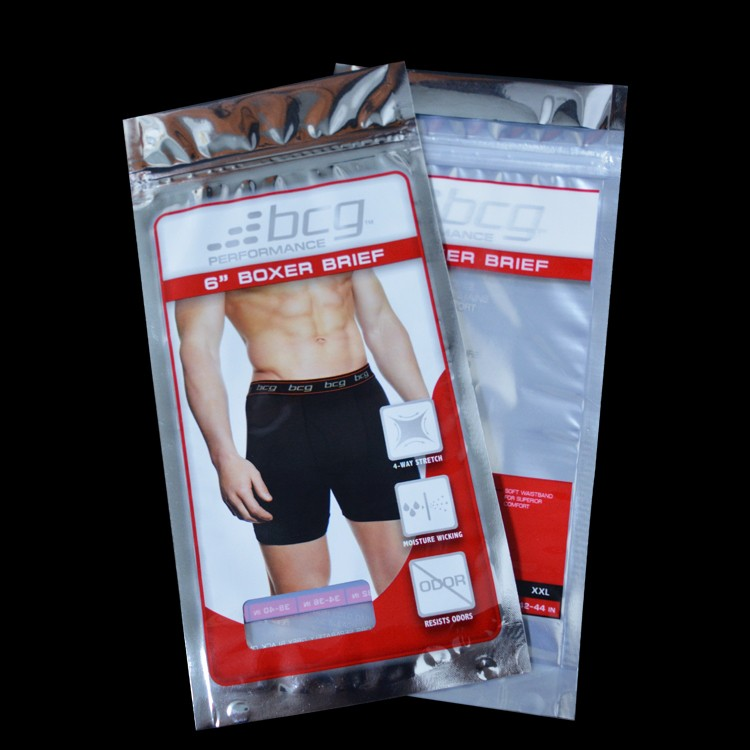 VMPET underwear clothes plastic packaging bag with euro slot