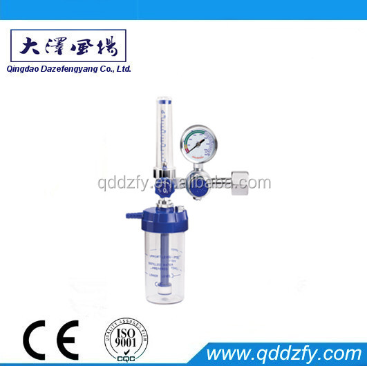 Medical oxygen gas regulator with humudifier and flowmeter