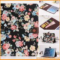 New design floral pattern flip stand leather case for iPad 2 3 4
