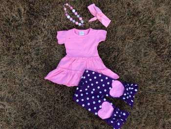 2015 new hot baby girls purple dot pink heart capri dress set outfits with matching necklace and headband