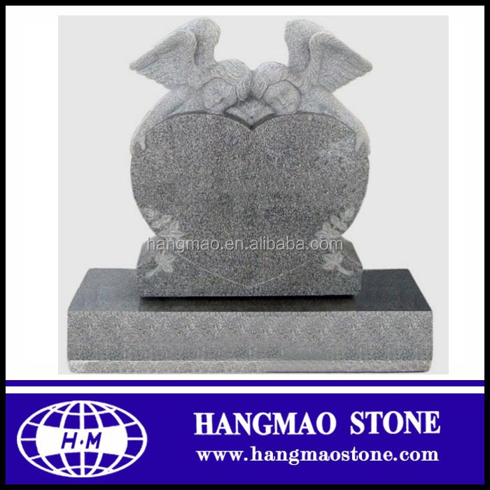 Large Size Italian Granite Headstone Double Angel Statue Headstone Monument