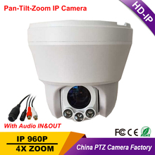 "Security Ceiling 4"" Mini Size Speed Dome PTZ Camera HD IP 960P 1.3MP Megapixels 4X Zoom ONVIF Auto Focus P2P W/ tow way Audio"