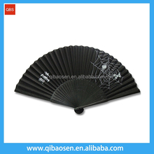 Logo printing black folding bamboo paper hand fan with dyeing ribs