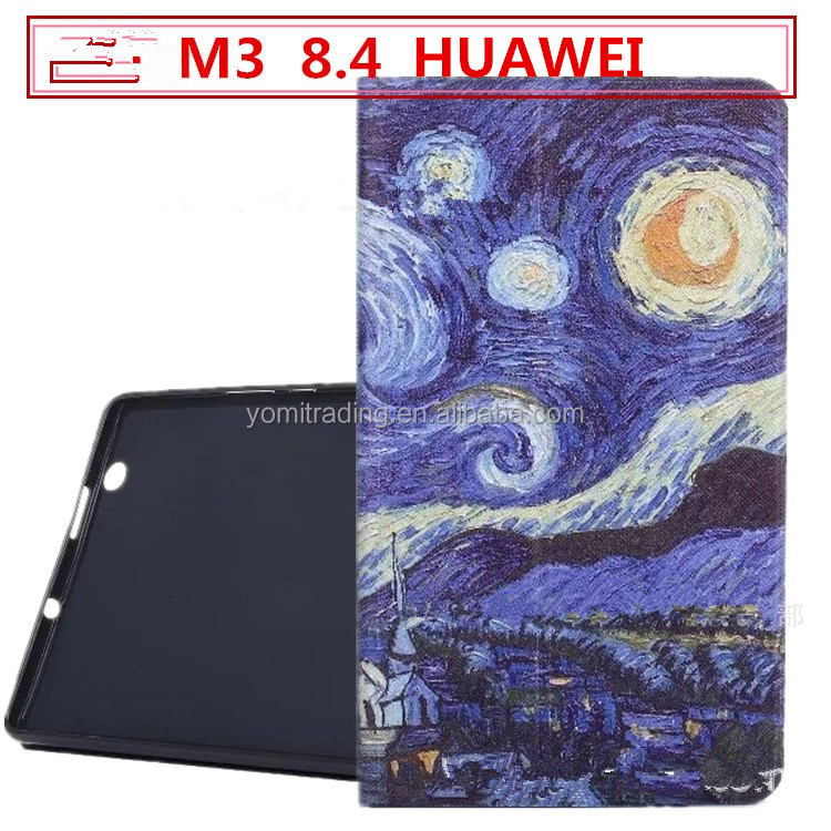 Flip case for HUawei m3 8.4 BTV-W09/DL09 tablet PC cartoon PU Leather Standing Cover with Auto Wake / Sleep