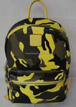 recreational PU soft camo camouflage color backpack with rivet