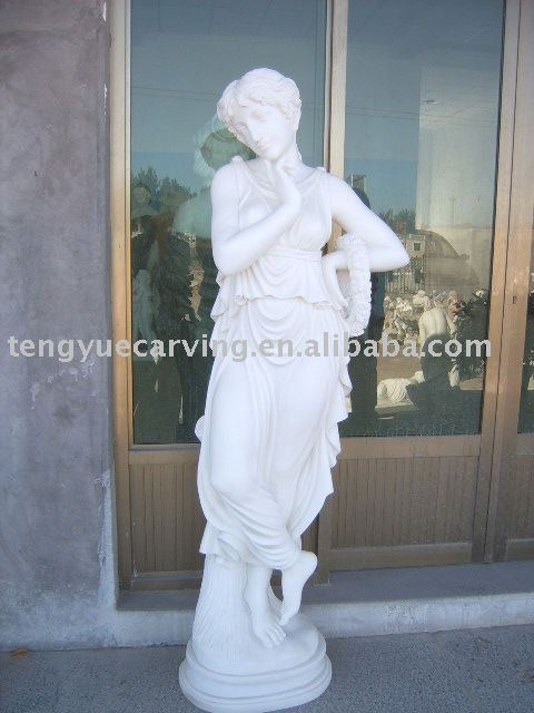 life size hard working marble statue two marble pillar people