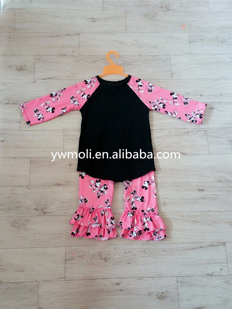 china yiwu factory direct sale girloutfits casual style T-shirts match long ruffle pants girl sports clothes sets