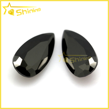 8*12 glass gems cheap price black pear cut jewellry glass stone