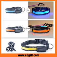 ECO-friendly glowing Cat / Dog traning Collar Safety necklace flashing light dog Collar