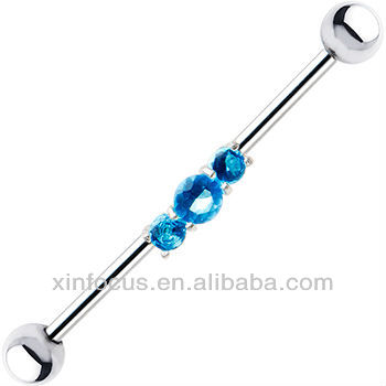 Surgical Steel Sterling Aqua CZ Trilogy Industrial Barbell Earring Body Jewelry