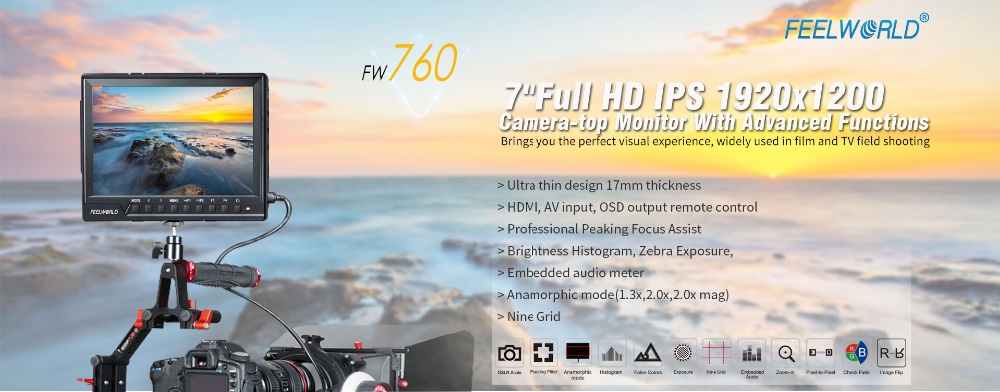 7inch full HD 1920X1080 native resolution monitor jib head for camcorder