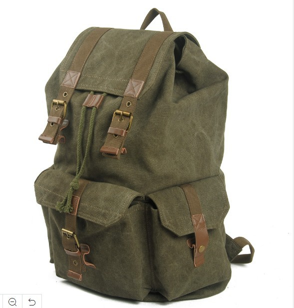 Green Color Washed Canvas School Bag Student Backpack