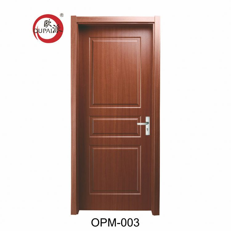 Professional Made European Style Three Square Carved Red Printed Composite Interior Wooden Door Polish Design