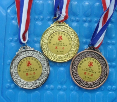 cheap wholesale custom sport metal medal with ribbon