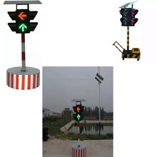 portable road safety red and green solar power beacon flashing light
