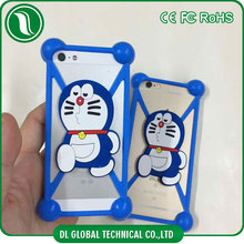 Popular universal cartoon bumper case of soft silicone with animal holder multifunctional phone cases