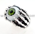 GOTHIC EMERALD GREEN EYE STONE .925 STERLING SILVER EYEBALL RING JEWELRY