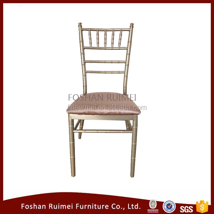 Foshan wholesale champagne golden aluminum steel iron metal chiavari tiffany wedding event party chair for sale