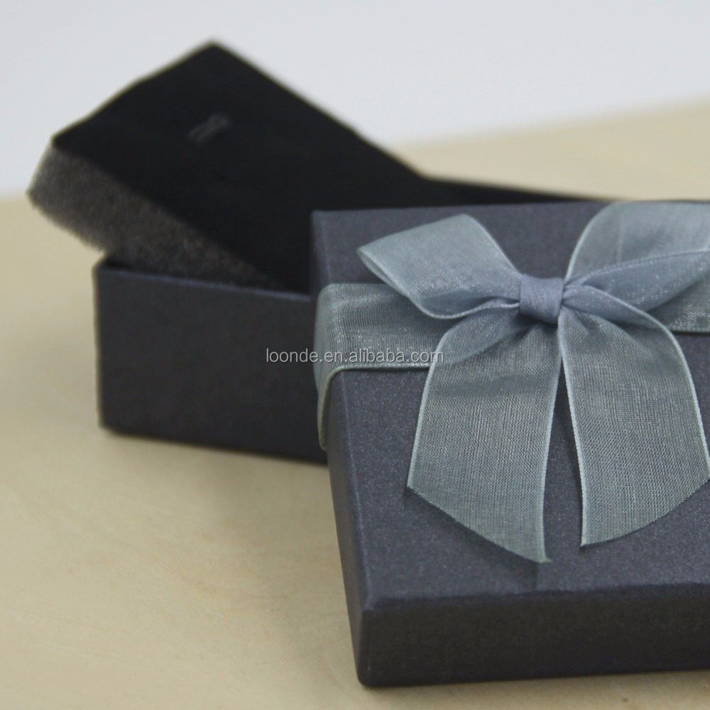 Recycled cardboard porcelain dark silver jewelry gift box with organza butterfly