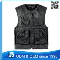 Customized Leather Motocycle Vest With No Patch Biker Vest