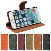 Fashion Frosting Style PU Leather Wallet Phone Case Cover With Stand For Apple Iphone 6 Plus