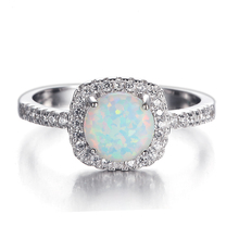 Fashion 5925 Silver Women Opal Diamond Ring Wholesale