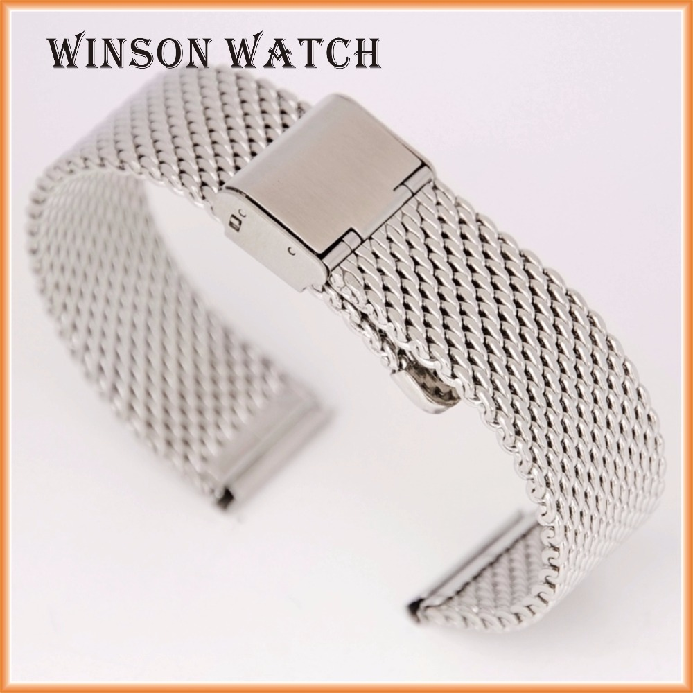 12mm to 26mm Shark Mesh 316L Solid Stainless Steel Metal Watch Strap Band