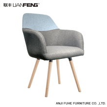 LIANFENG Modern low back wooden legs grey fabric dining chair