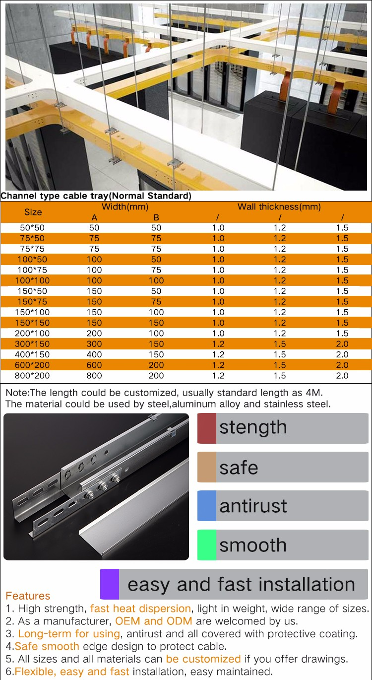 Channel Type Electrical Cable Tray Sizes Standard - Buy Cable Tray ...