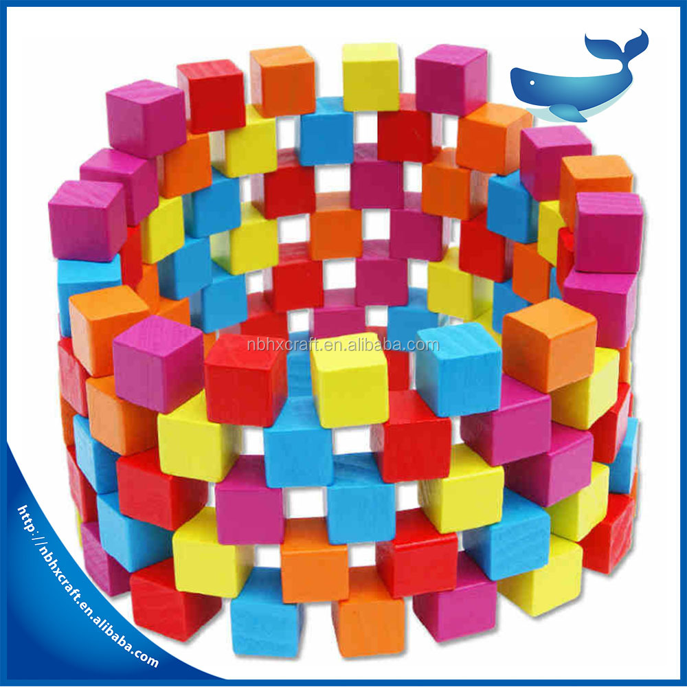 Wholease 100 cubes beech wooden square blocks teaching educational toys