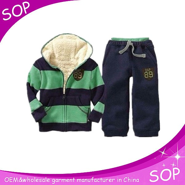 Wholesale warm striped boys track suits oem