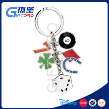 Lucky keychain! keychain with Horseshoe,Four leaf clover,Seven,Cube as gift for friends