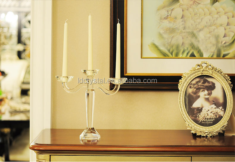 Wholesale sample design 3 arms cheap crystal candelabra decoration wedding