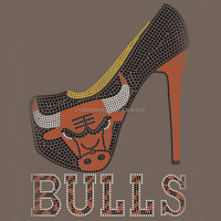 Chicago Bull rhinestone transfer iron on hotfix motif design for shirt