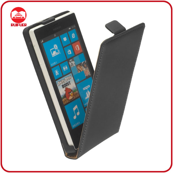 Black VERTICAL Case Leather Pouch for Nokia Lumia 720