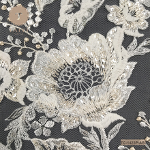 Unique Design Ivory+Champagne Jacquard Embroidery Lace Fabric