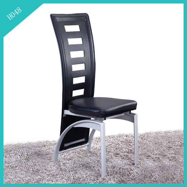 Cheap Metal tube chrome legs leather dining chair