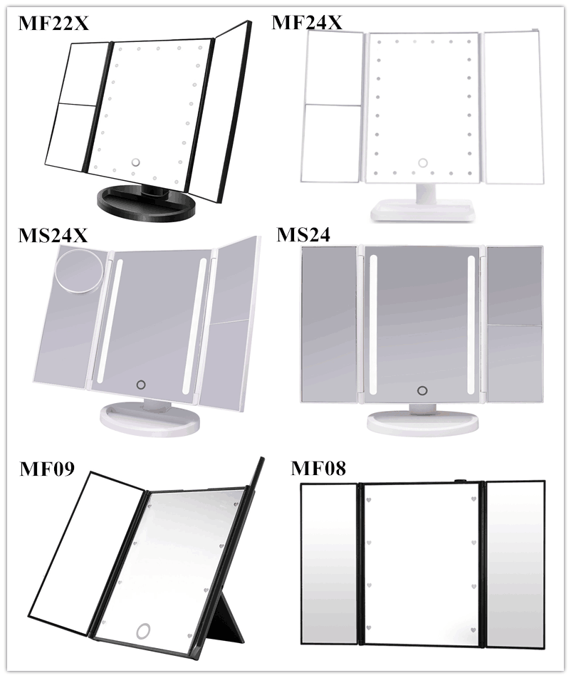 2019 high quality new products vanity make up mirror 22 small led lamp bead led foldable mirror  with lights