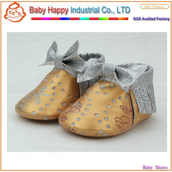 China Manufacturer online wholesale soft sole baby bow moccasins