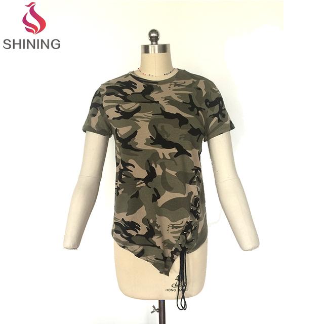 Cotton Collarless O-neck Short Sleeves Military women Woodland Camouflage Custom T Shirt