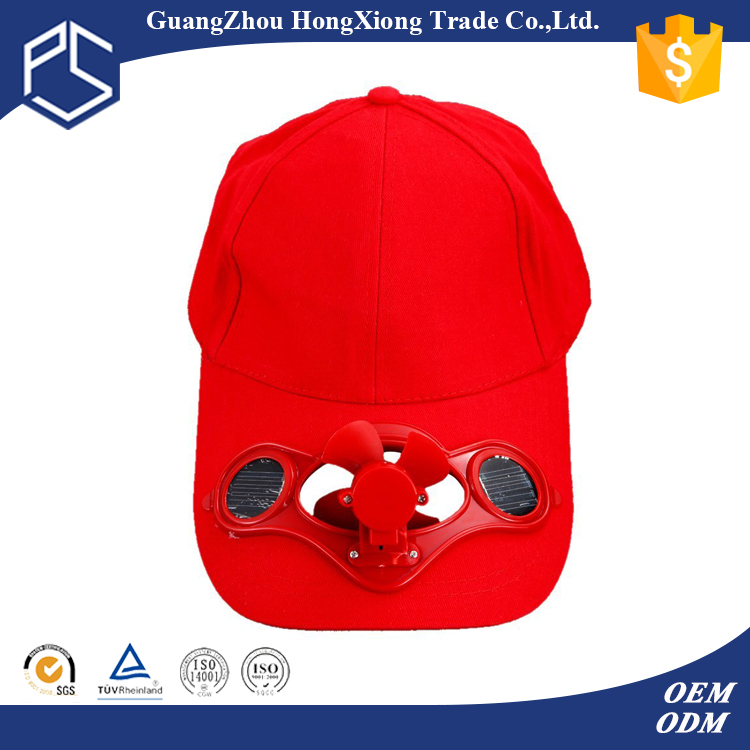 Custom own logo long bill baseball solar cap with fan