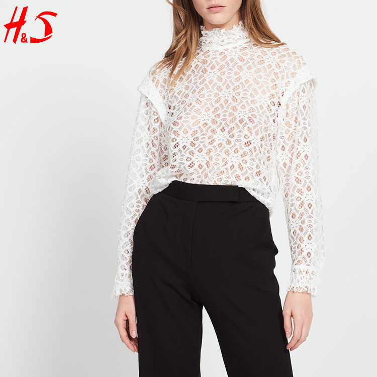 trend latest new long sleeve tops hollow manufacturers with high collar white lace top of women