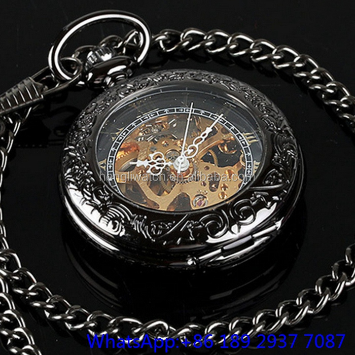 Chinese mechanical movement skeleton pocket watch antique watches