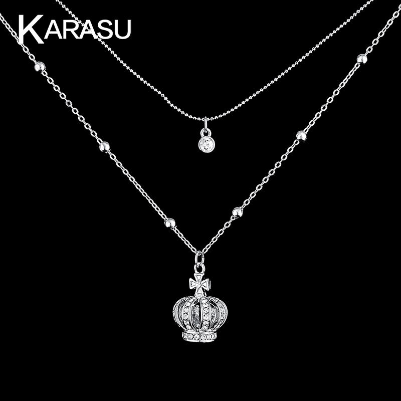 White Gold Plated Crown Cross Pendant Full Rhinestone Crystal Plated <strong>Necklaces</strong> for Women Free Shipping
