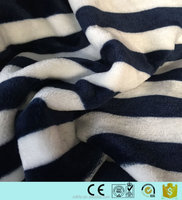 heavy weight white blue stripe flannel fleece fabric 100% polyester
