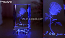 Wholesale crystal 3D laser rose with light Valentine's Day gift birthday gifts,Wedding gifts