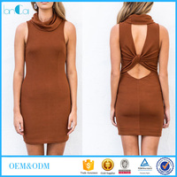 2016 Lady neck back open sleeves sexy dress
