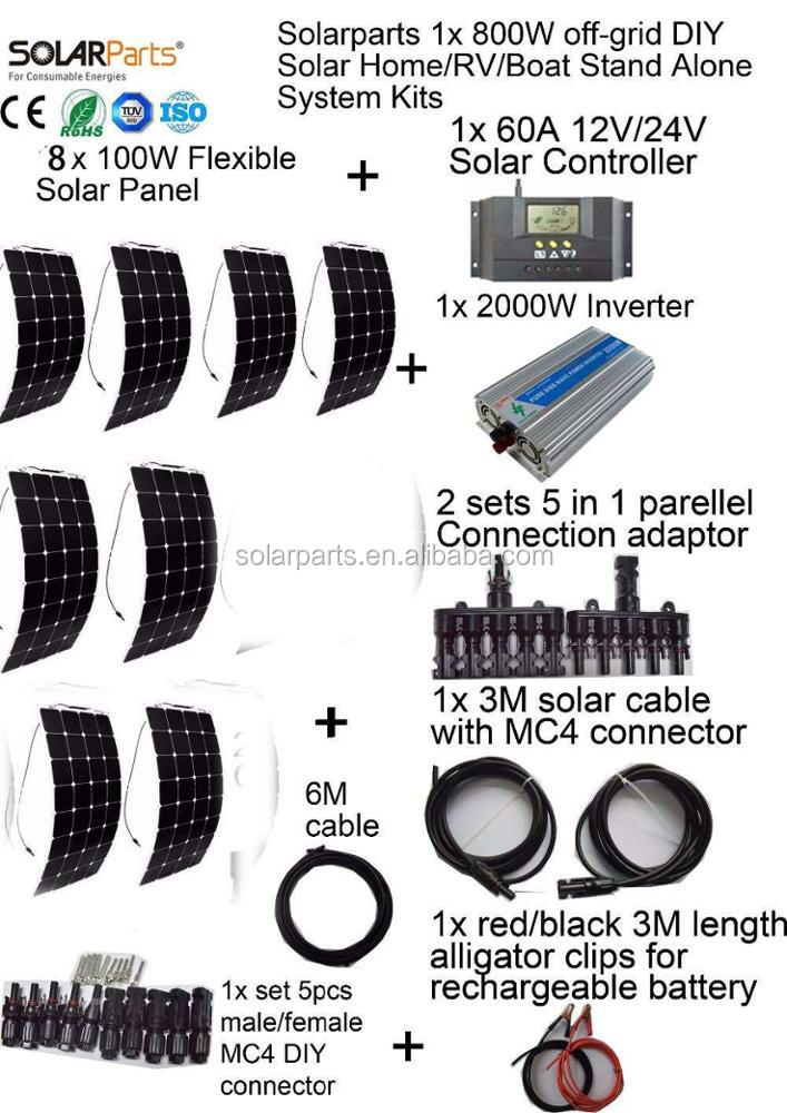 Solarparts 800W off-grid Solar System KITS flexible solar panel +controller+inverter+cable+adaptor for RV/Marine/Camping/Home .